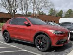 2018 Stelvio Ti Sport Alfa Rosso Red with powder coated wheels